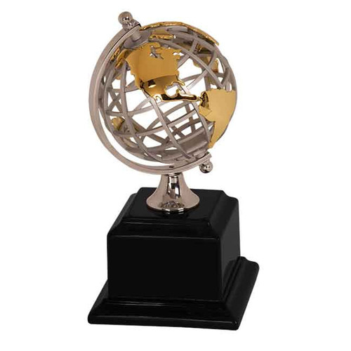 Gold/Silver Metal Globe on Base