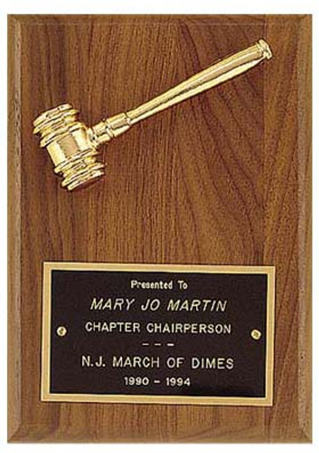 Walnut plaque w/ Goldtone Gavel