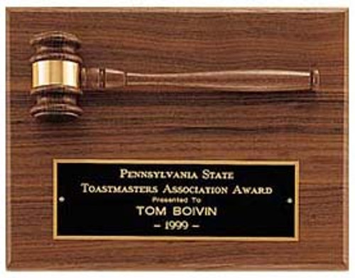 Walnut plaque w/Walnut Gavel