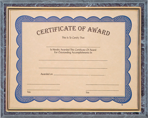 Black Marble Slide-In Framed Certificate Plaque
