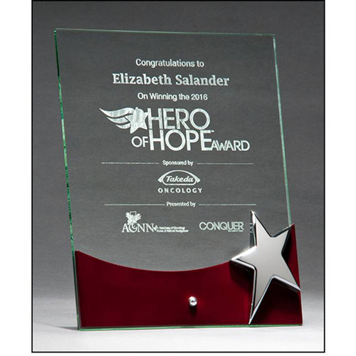 Free Standing Glass Achievement Plaque