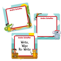 Pirate Animals Square Write-On Labels