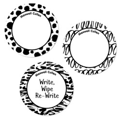 Black and White Abstract Round Write-On Labels