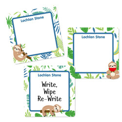 Sloths Square Write-On Labels
