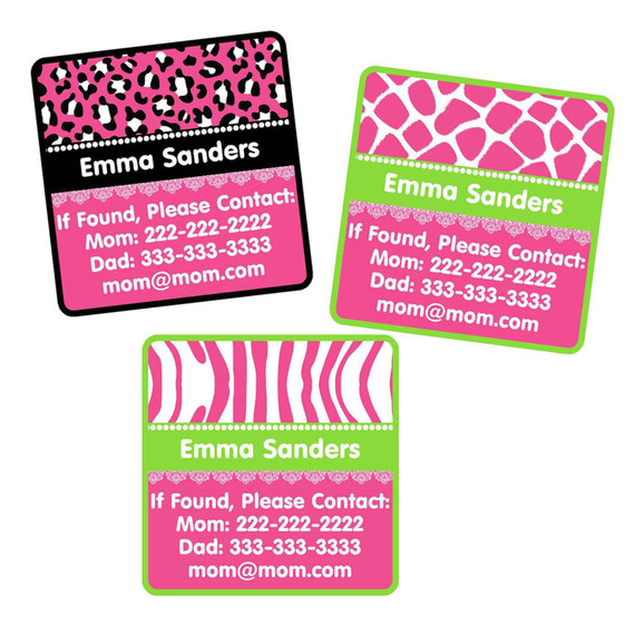 Animal Prints Bright Pink Contact Labels