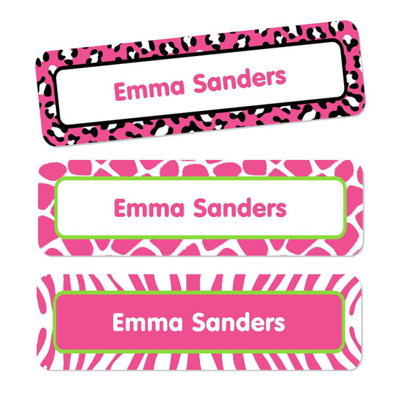 Animal Prints Bright Pink Oversize Rectangle Labels