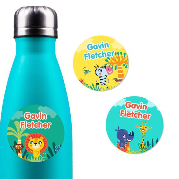 African Safari Water Bottle Name Labels