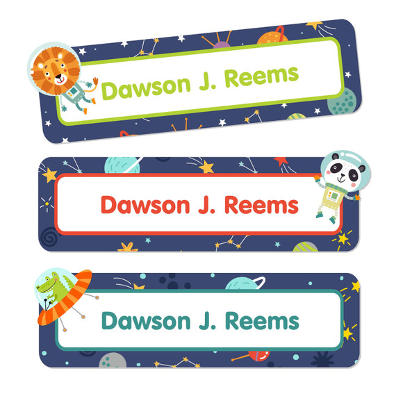 Animals in Space Daycare Labels