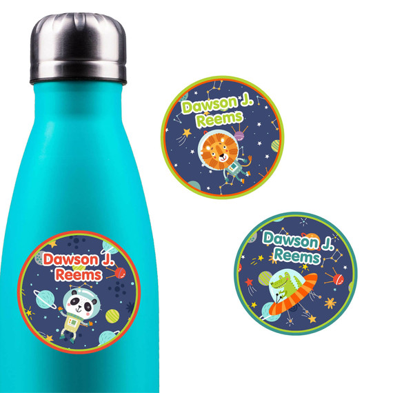 Animals in Space Round Name Labels
