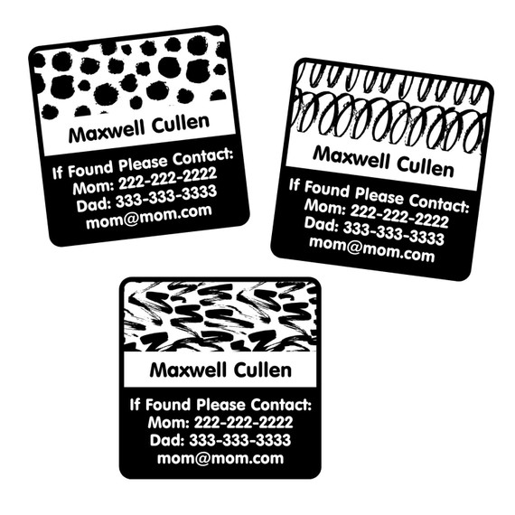 Black and White Emergency Contact Labels