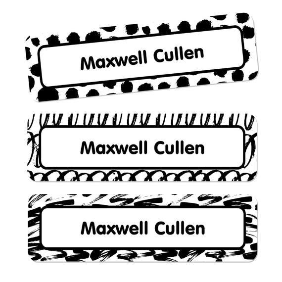 Black and White Name Labels