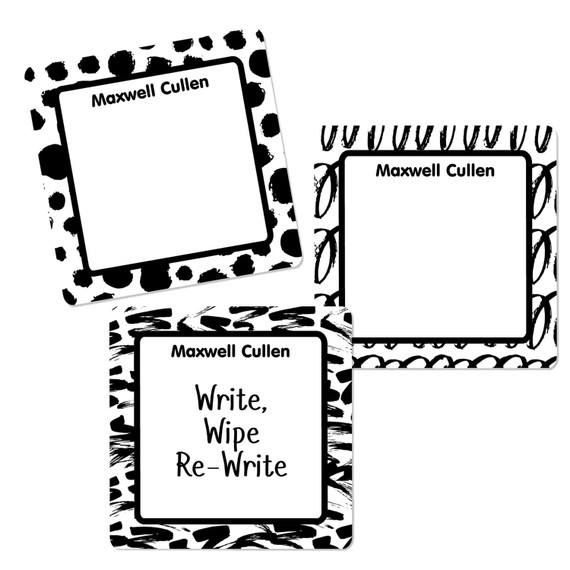 Black and White Abstract Square Write-On Labels
