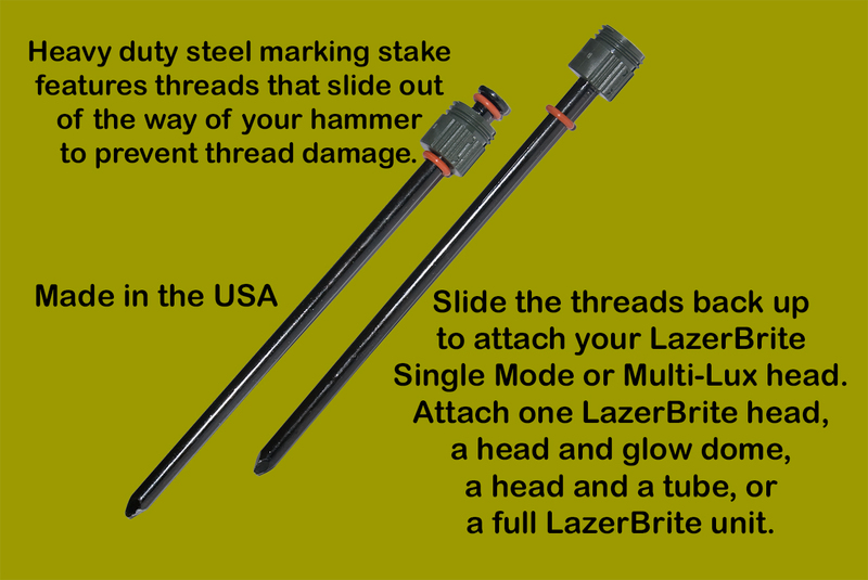 These Heavy Duty Steel marking Stakes are made in the USA and have threads that slide out of the way of your hammer while you pound them in the ground.  Great for Marking LZ/DZs, lanes, breaches, and hazards.  Also excellent for SAR, Emergency Management, wild land firefighting or any outdoor recreation light marker needs.