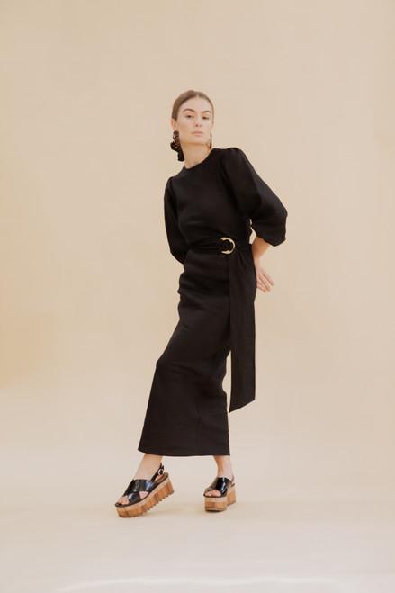 Natalie Bias Dress - Black