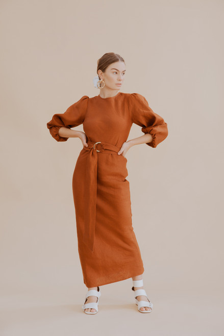 Natalie Bias Dress - Cinnamon