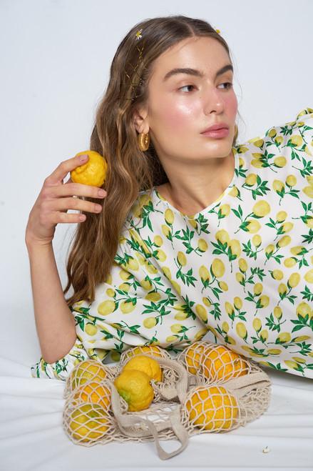 Natalie Frill Dress - Lemon