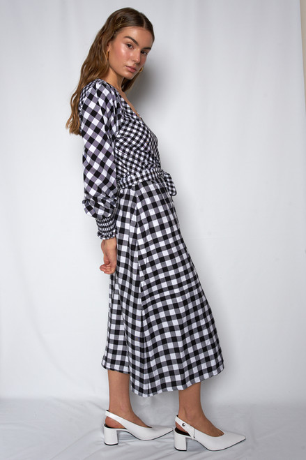 Wrap Midi Dress - Mixed Gingham
