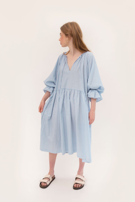 Tilly Maxi 2.0 - Baby Blue Gingham