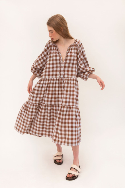 Tilly Maxi - Chocolate Gingham