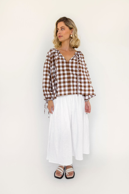 Boho Top - Chocolate Gingham