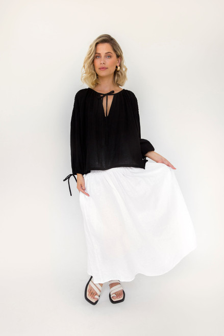 Boho Top - Black Cotton