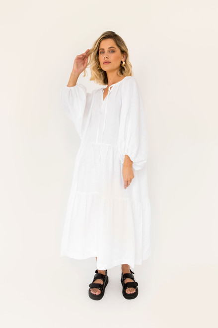 Tilly Maxi - White Linen