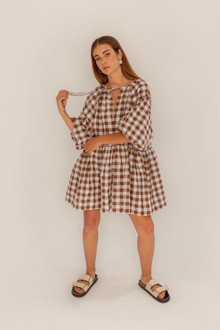 Tilly Mini - Choc Gingham