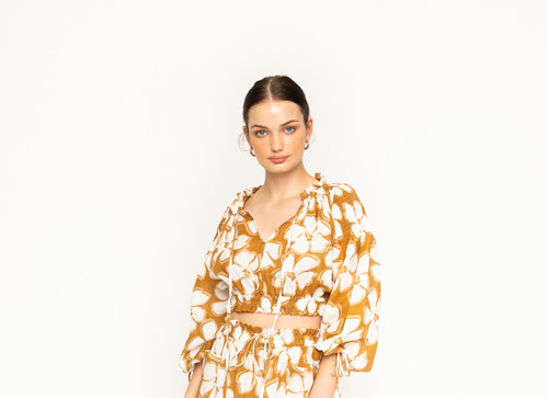 Boho Crop Top - Marigold Flower