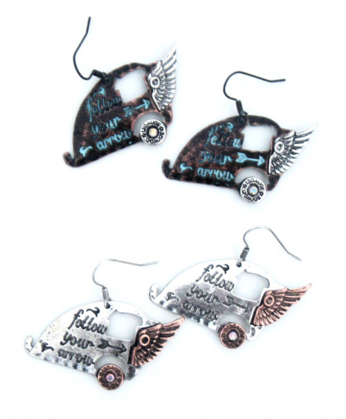 Silver and Bronze Happy Camper Earrings