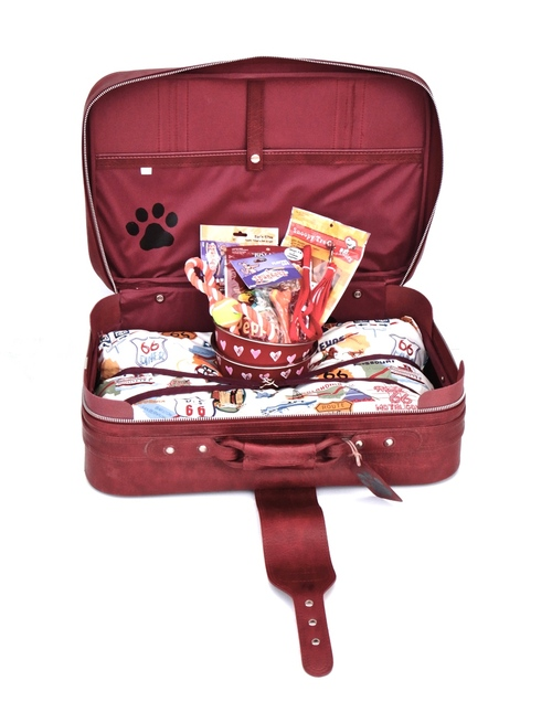 "Burgundy soft shell pet suitcase with ""Route 66"" pillow"