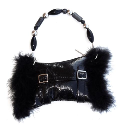 Black patent leather black boa trim