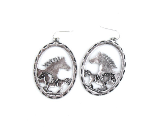 Silver and gold oval cactus earring