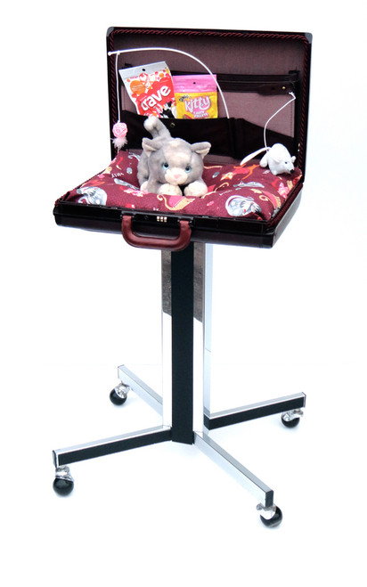 Burgundy and mauve open briefcase cat bed on rolling stand