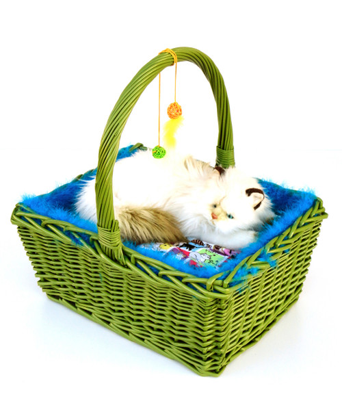 Green and blue wicker basket cat bed with handle