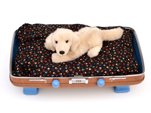 Brown and blue suitcase pet bed