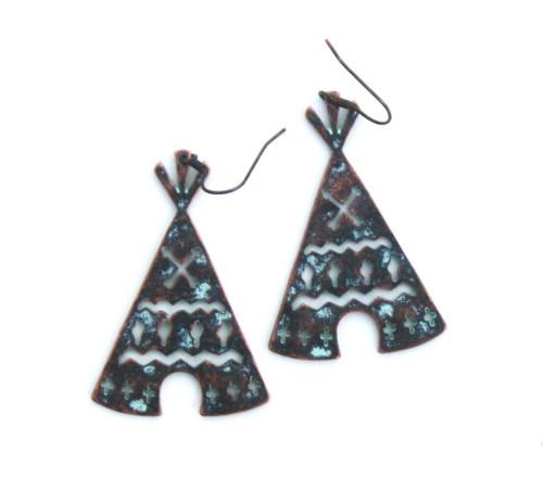 Bronze and Turquoise Tee Pee Earring