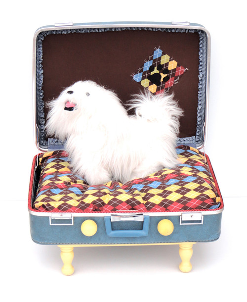 Blue and brown suitcase dog bed with open lid