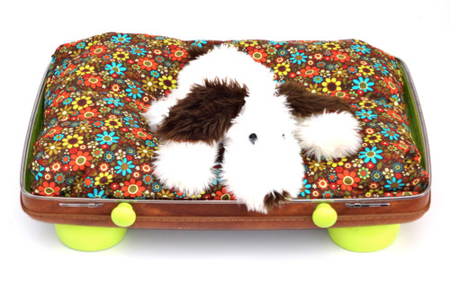 Brown and lime green suitcase pet bed