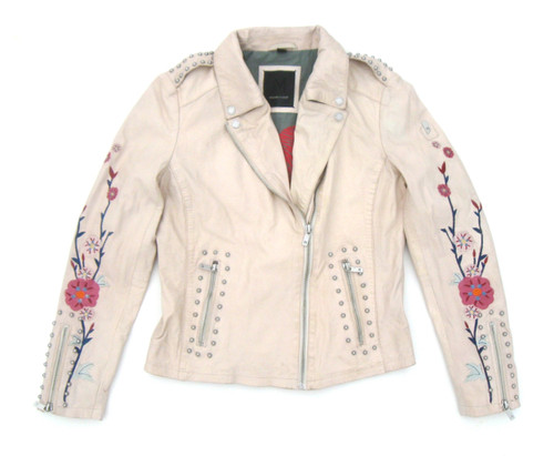 Mauritius Inka Embroidered Leather Jacket Milk