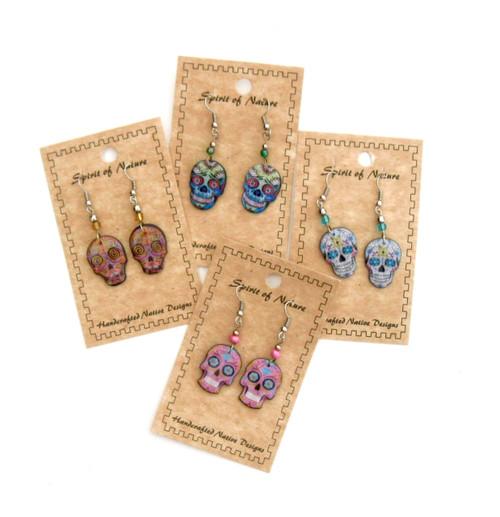 Colorful Sugar Skull Earrings
