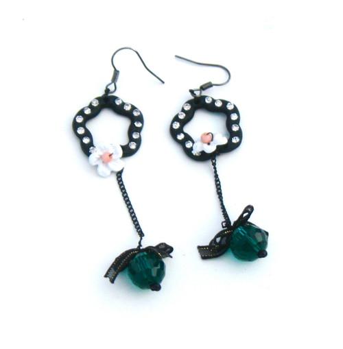 Black rhinestone flower and bead earrings