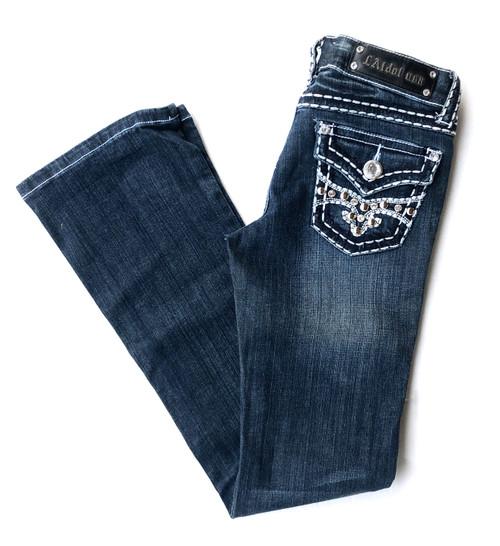 LA Idol White Stitching Stud Boot Jean