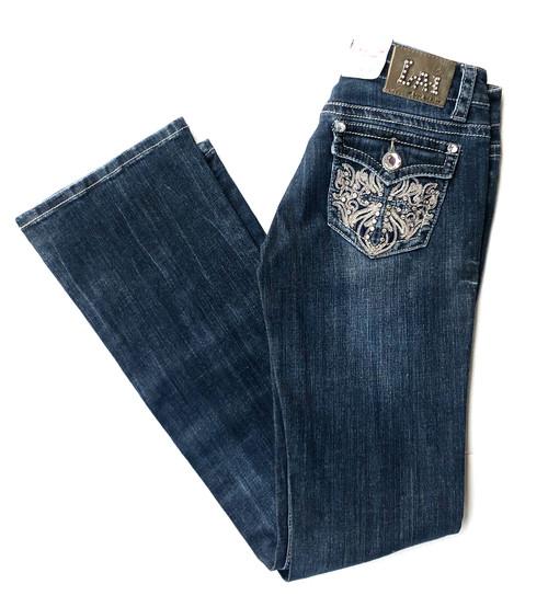 LA Idol Dress Thin Stitching Gem Boot Jean