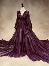 Plum Chiffon Gown