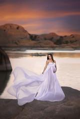 Caroline Infinity Full Circle Chiffon Maternity Dress with Long Train