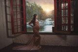 Scarlet  Crushed Velvet Maternity Gown with Long Train, off shoulders, long sleeves, winter / fall style, teal