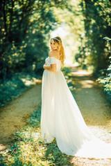 Casandra Maternity Dress, Full Circle, Off shoulders, short sleeves, short slip, champagne, elopment dress