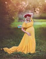 Paloma Maternity Ruffles  Dress, Gold Engagement dress, Prom dress, Bridesmaids Dress, Gold Off Shoulders dress