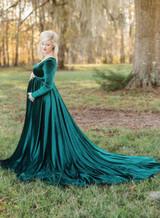 Sarah Velvet On Shoulders Navy Maternity Dress