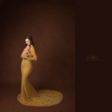 Scarlet Gold Lace Maternity Gown, Off Shoulders, Fitted, long train, sweetheart neckline